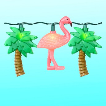 J. Hofert Co Set of 10 Flamingo and Palm Tree Summer Patio Novelty Lights - Green Wire