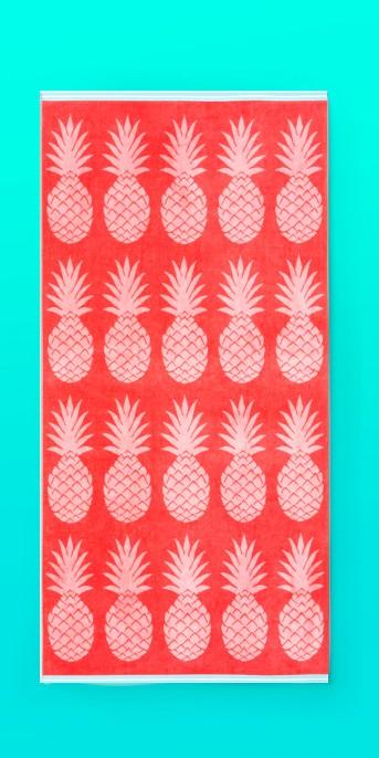 XL Pineapple Beach Towel Pink Coral - Sun Squad™