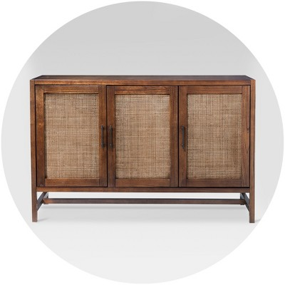 Entertainment Center TV Media Cabinet Wood Shelf Contemporary Modern Console
