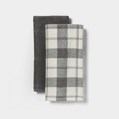 Christmas Towel Country General Store on Gray Flat Woven Cotton Kitchen