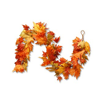 National Tree Company Garland with Maple Leaves and Pumpkins Red/Orange (72