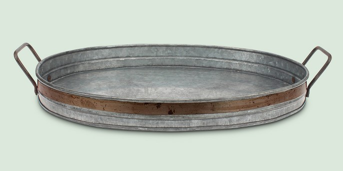 Aged Galvanized Tray with Rust Trim and Handles - Gray - Stonebriar