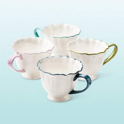 Isabella Ruffle Assorted Mug Set 4-pc - White