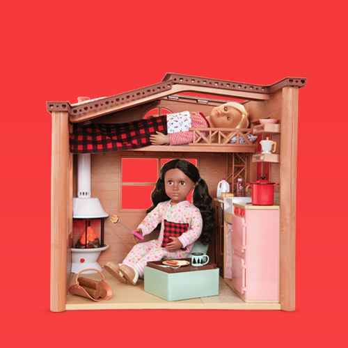 """Our Generation Cozy Cabin Dollhouse Playset with Electronics for 18"""" Dolls, Our Generation Malia with Plush Dog Poodle 18"""" Doll & Pet Set, Our Generation Katelyn with Storybook & Outfit 18"""" Posable Ice Skating Doll, Our Generation Cassie and Pet Samoyed 18"""" Doll & Pet Plush Dog Set, Our Generation Hot Chocolate Stand for 18"""" Dolls - Choco-tastic"""