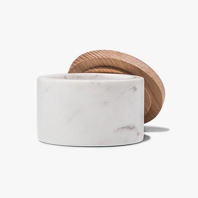 Marble Salt Box with Beechwood Lid - White - Threshold™