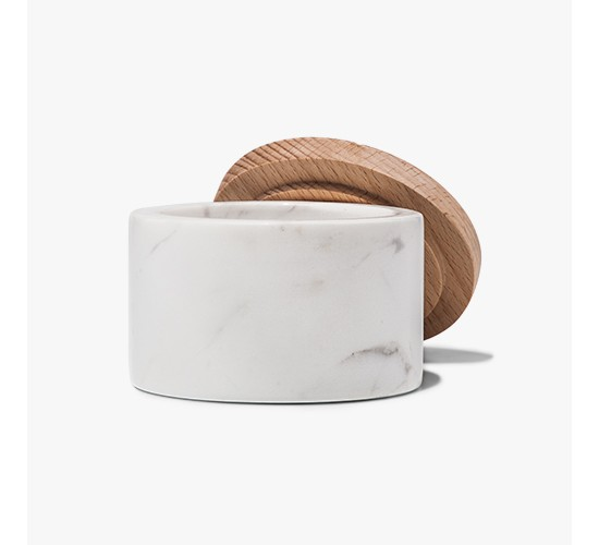 Marble Salt Box with Beechwood Lid - White - Threshold™