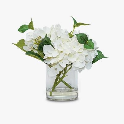 Artificial Hydrangea Arrangement in Glass Pot White 11 inches - Lloyd & Hannah