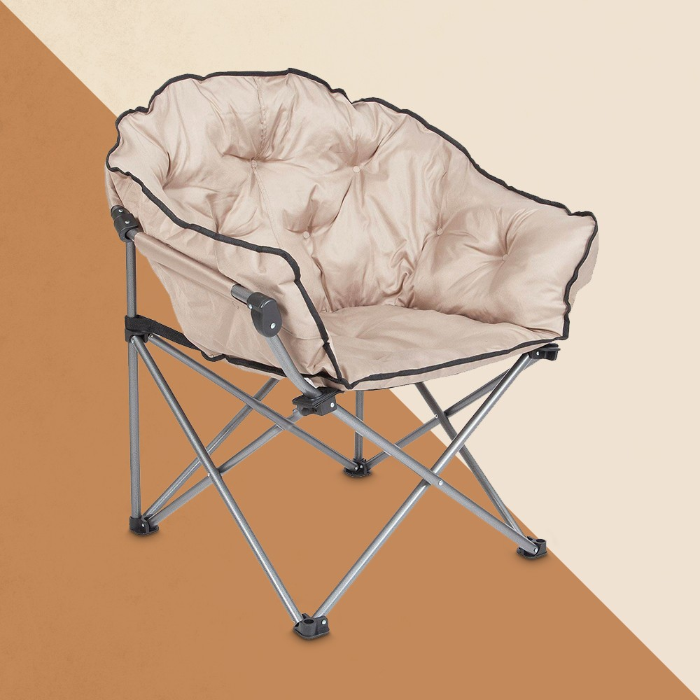 Mac Sports Foldable Padded Outdoor Club Chair with Carry Bag, Beige (2 Pack)