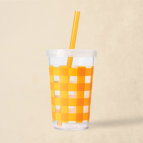 12oz Plastic Gingham Tumbler with Straw - Hyde & EEK! Boutique™