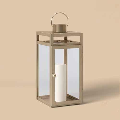 """16"""" x 7"""" Metal Lantern Candle Holder Matte Gold - Threshold™"""