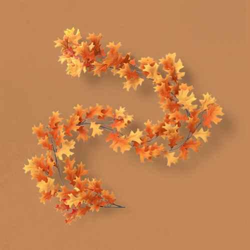"72"" Artificial Fall Leaves Garland Orange - Threshold™"