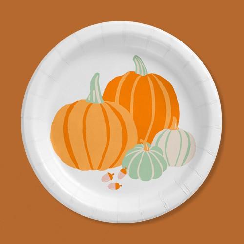"6.75"" 30ct Fall Harvest Disposable Dinnerware Snack Plates - Spritz™"