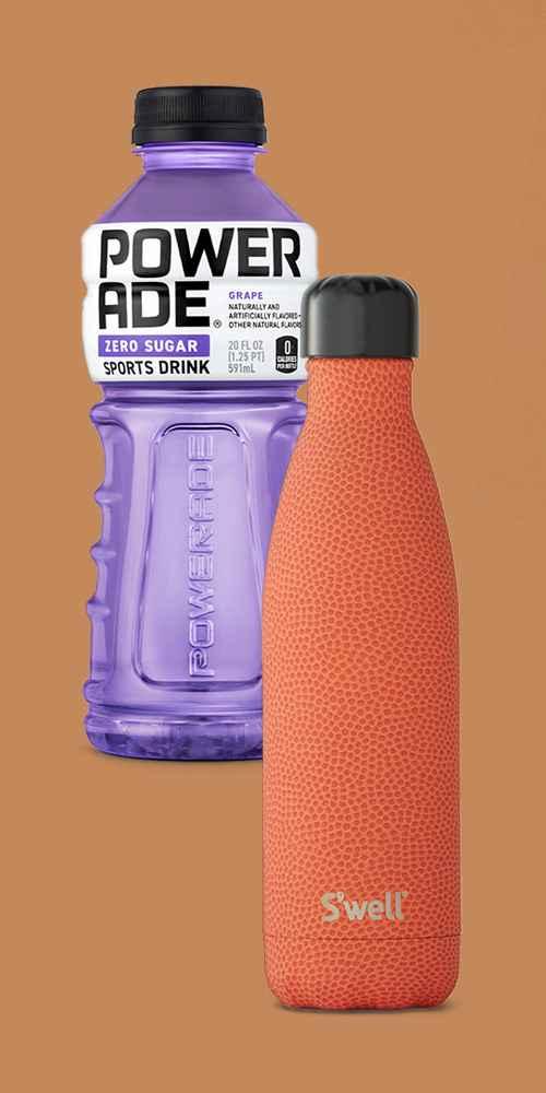 POWERADE Zero Grape Sports Drink - 8pk/20 fl oz Bottles, S'well 17oz Stainless Steel Bottle Slam Dunk
