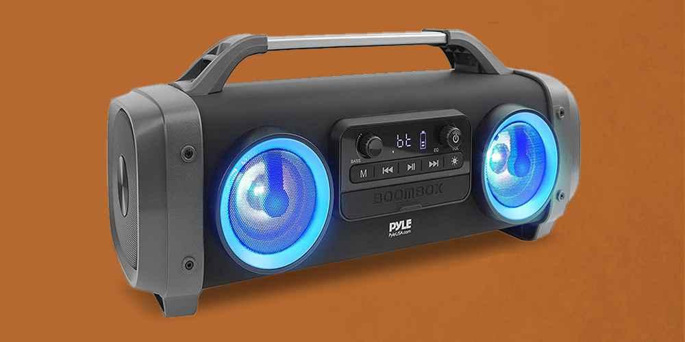 Pyle PBMSPG144 500 Watt Bluetooth Portable Boombox Karaoke Speaker System w/ DJ Flashing Party Lights, Aux/USB/Micro SD input, and Handheld Microphone