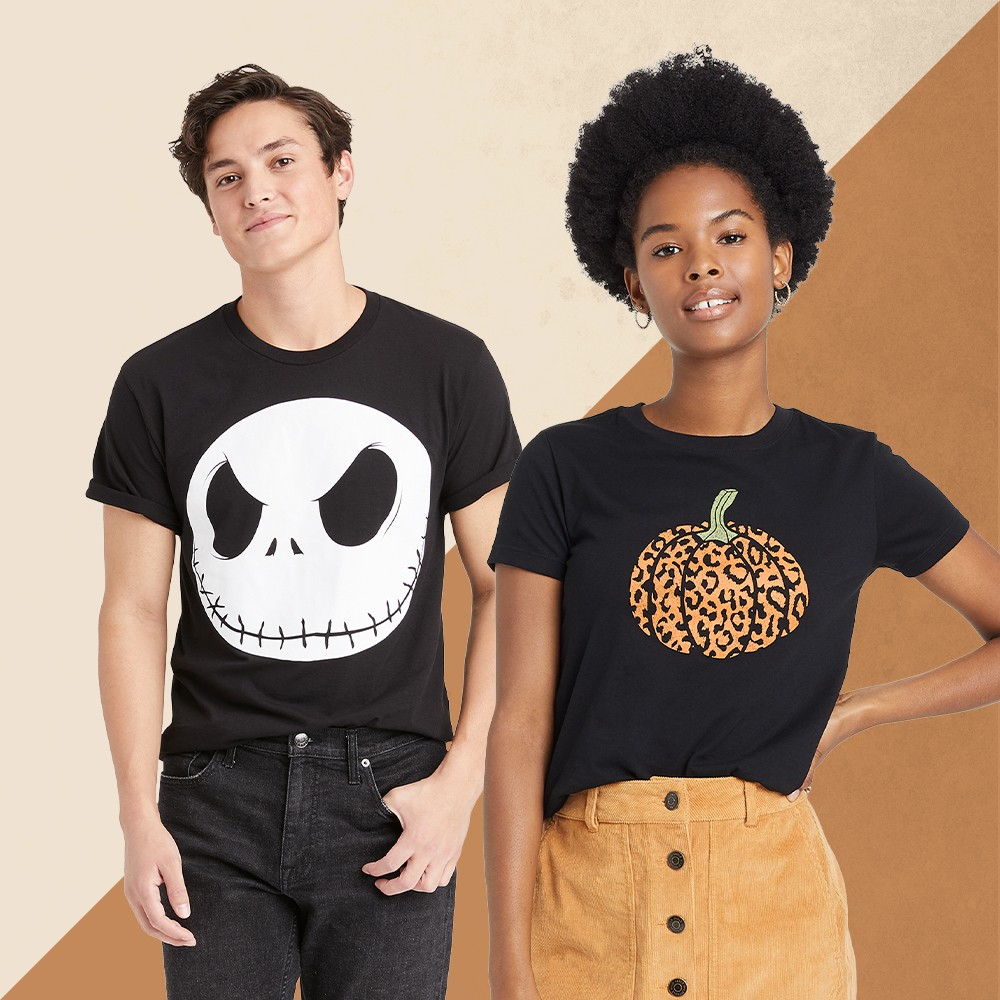 Men's Disney Jack Skellington Short Sleeve Graphic T-Shirt - Black M, Women's Halloween Pumpkin Leopard Print Logo Short Sleeve Graphic T-Shirt - Black M