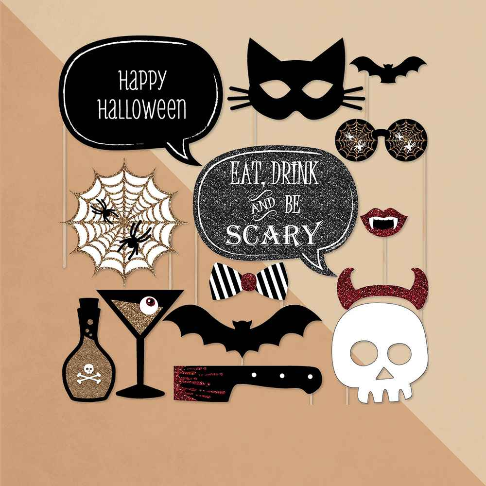 Big Dot of Happiness Spooktacular - Eat, Drink and Be Scary Halloween Party Photo Booth Props Kit - 20 Count