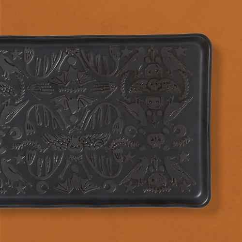 "11"" x 7"" Stoneware Patterned Serving Platter Black  - Threshold™"