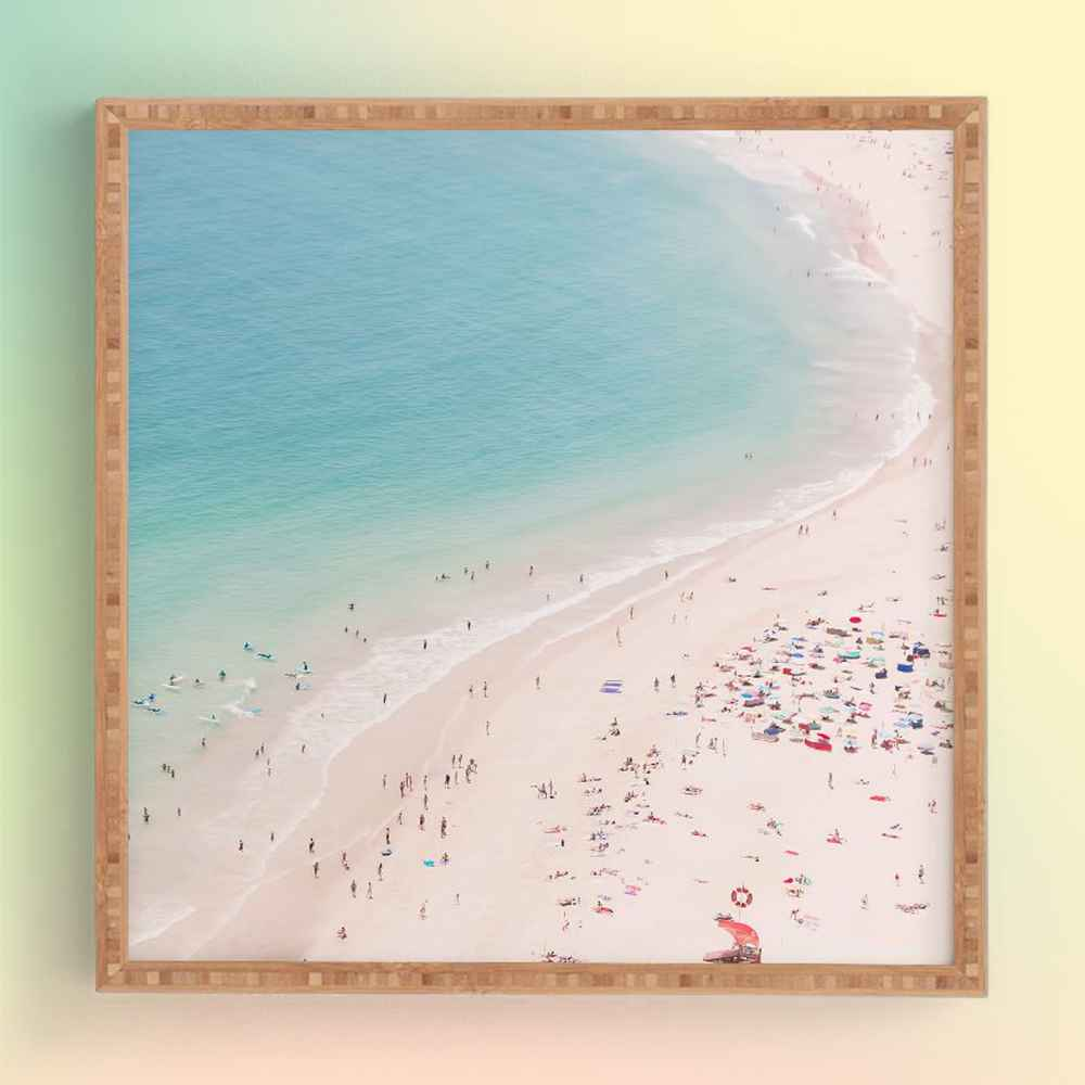 Ingrid Beddoes Beach Turquoise Blue Framed Wall Art Blue - society6