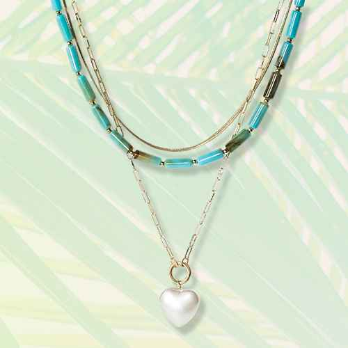 SUGARFIX by BaubleBar Layered Heart Charm Necklace - Turquoise