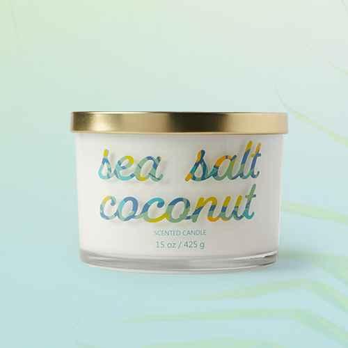 15oz Lidded Glass Jar 3-Wick Sea Salt Coconut Candle - Opalhouse™