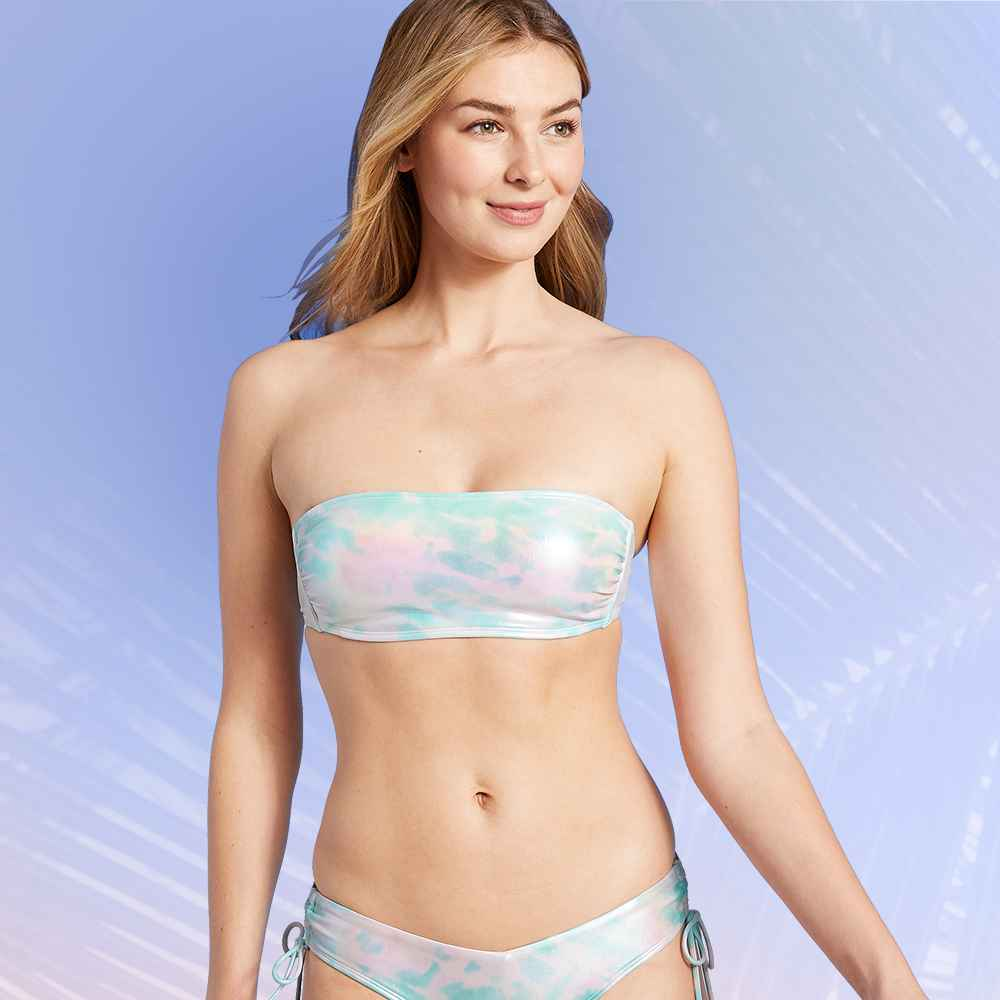 Juniors' Metallic Bandeau Bikini Top - Xhilaration™ Tie-Dye S, Juniors' Metallic V-Front Side-Cinch Cheeky Bikini Bottom - Xhilaration™ Tie-Dye Multi XS