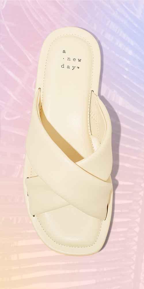 Women's Daisy Crossband Slide Sandals - A New Day™ Tan 6