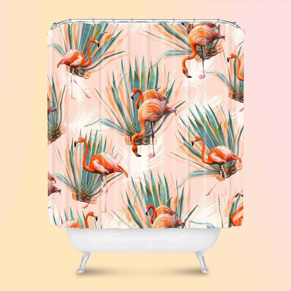 Marta Barragan Camarasa Flamingos with Cactus Shower Curtain Pink - Deny Designs