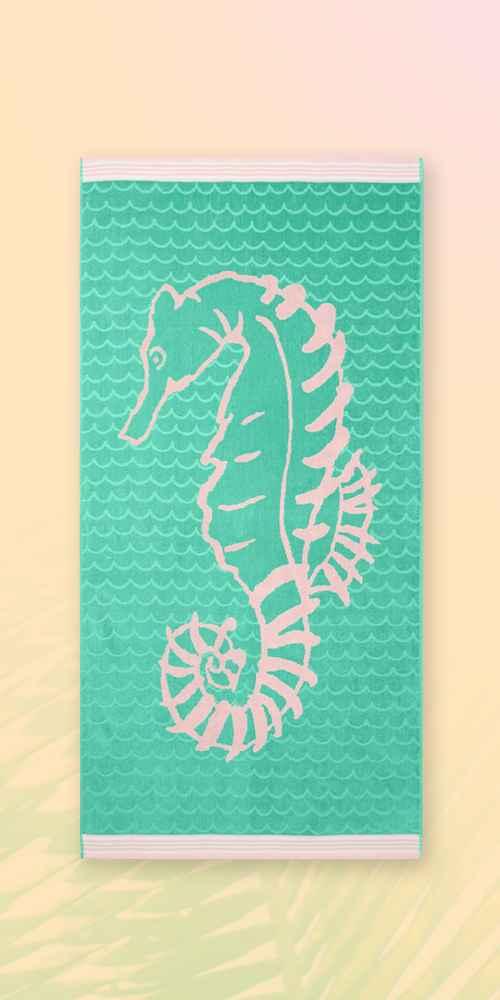 XL Seahorse Beach Towel Green - Sun Squad™