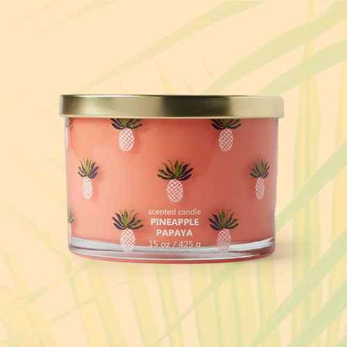 15oz Lidded Glass Jar Pineapple Print Pineapple Papaya Candle - Opalhouse™