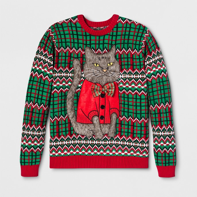 33 Degrees Men's Ugly Christmas Cat Bow Long Sleeve Pullover Sweater - Green