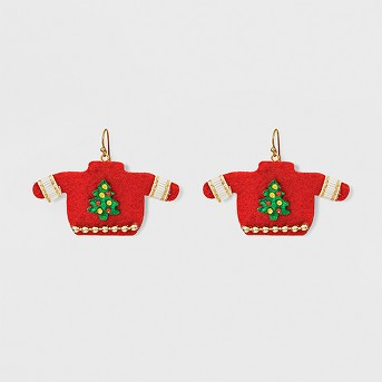 Christmas Sweater Earrings - Green/Red