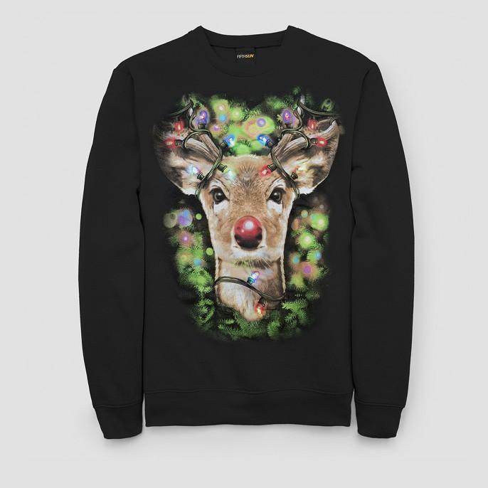 Men's Ugly Christmas LED Light Rudolph Long Sleeve Pullover Sweater - Black