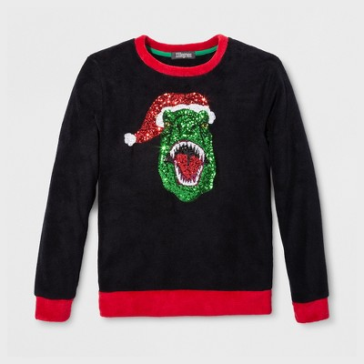 33 Degrees Men's Ugly Christmas T. Rex Fuzzy Long Sleeve Pullover Sweater - Black