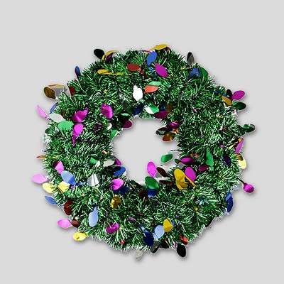 "Penn 19"" Unlit Green Artificial Tinsel Christmas Wreath"