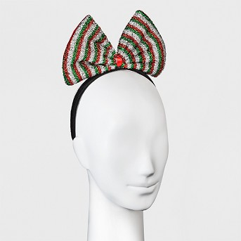 Large Bow Headband - Silver/Red