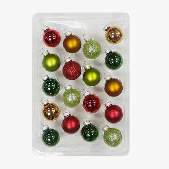 18ct Glass Ornament Set Red Green and Bronze - Wondershop™