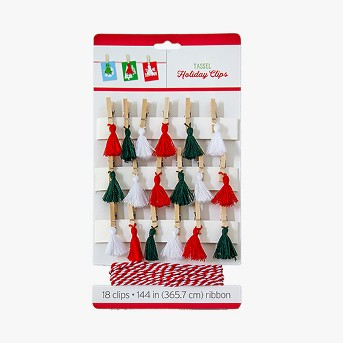 18ct Holiday Tassel Clips and Ribbon