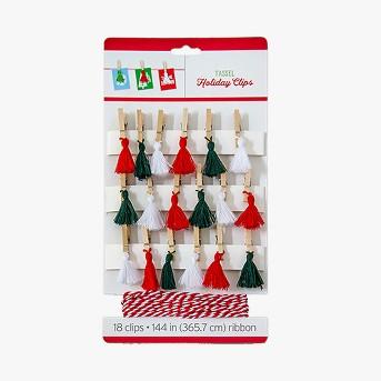 18ct Holiday Tassel Clips and Ribbon