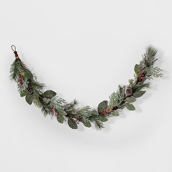 Garland Faux Flocked Pine Needle with Red Berries - Threshold™