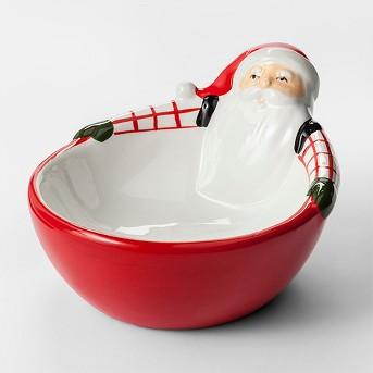 13.5oz Earthenware Santa Candy Dish Red/White - Threshold™