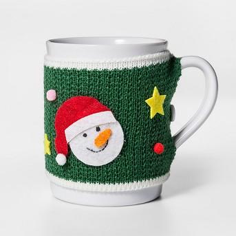 10.8oz Stoneware Ugly Sweater Mug Green/White - Threshold™