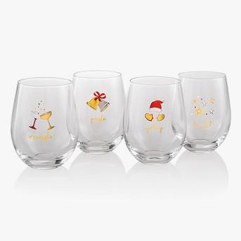 16oz 4pk Holiday Stemless Wine Glasses - Artland
