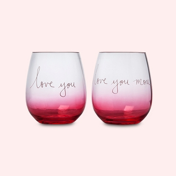 17oz 2pk Acrylic Love You And Love You More Stemless Wine Glasses - Opalhouse™