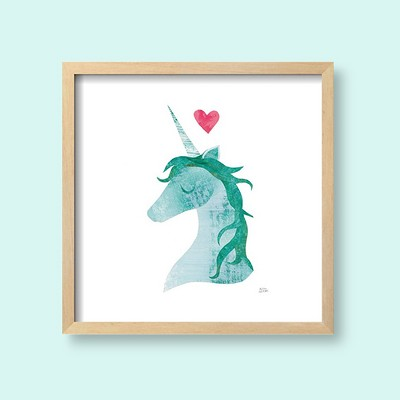 "Unicorn Magic II Heart Sq By Melissa Averinos Framed Wall Art Poster Print 17""x17"" - Art.com"