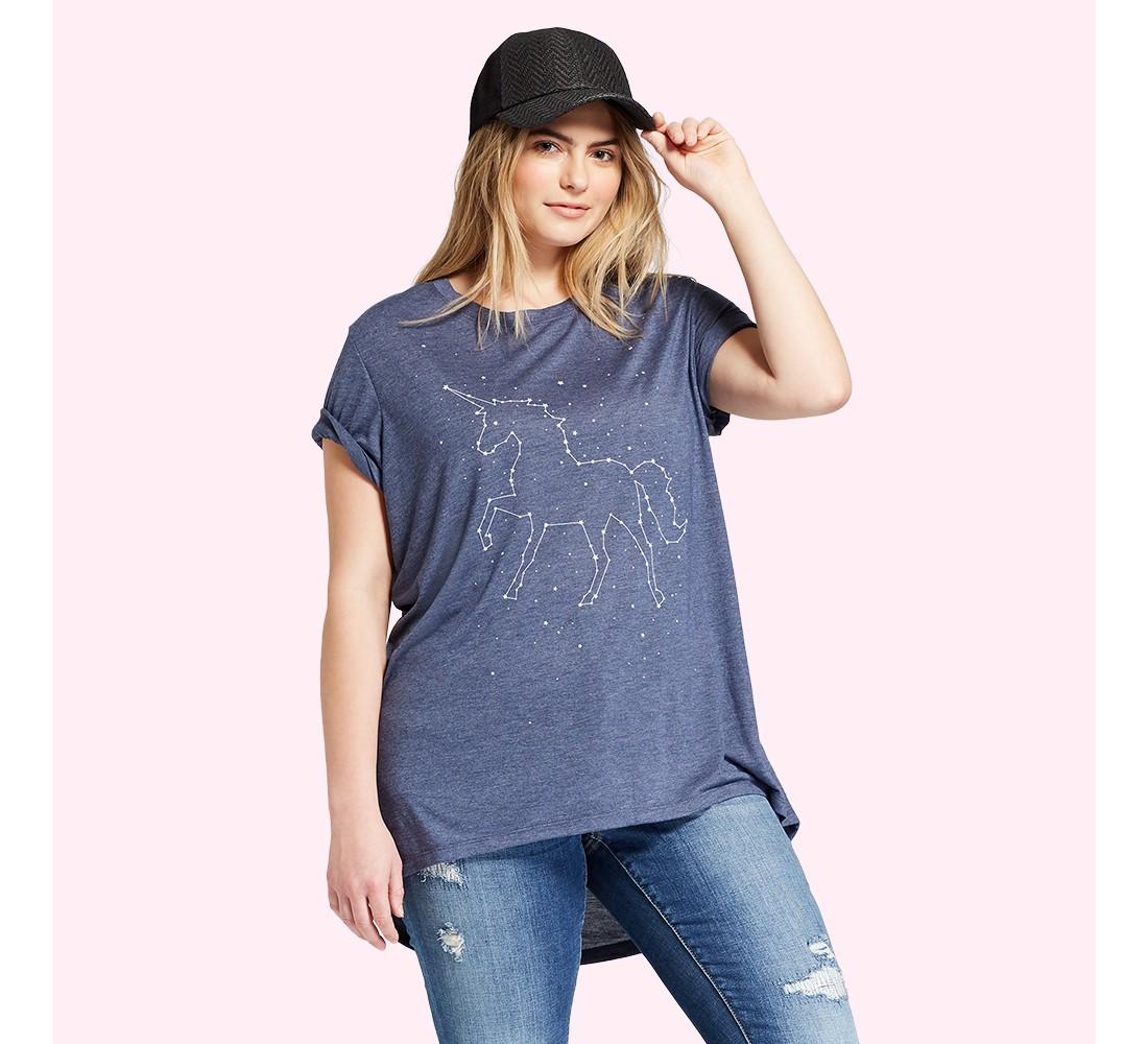 Women's Plus Size Galaxy Unicorn Short Sleeve Crew Neck T-shirt - Zoe+Liv (Juniors') - Navy