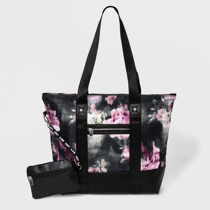 Floral Print Tote Handbag - JoyLab™ Black