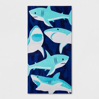 Sharks Beach Towel Blue - Sun Squad™