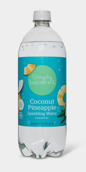 Sparkling Water Coconut Pineapple - 1 L Bottle - Simply Balanced™