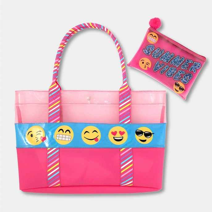 Girls' Emoji Swim Tote - Pink