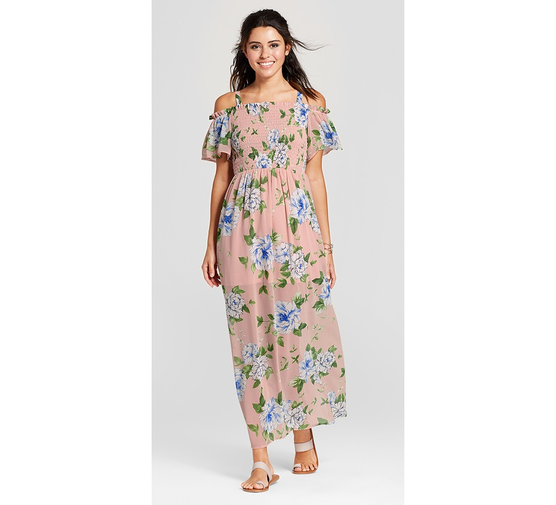 Women's Floral Cold Shoulder Maxi Dress - Lily Star (Juniors')
